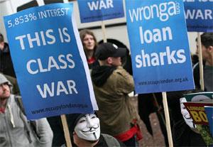 Protesty w Anglii UK wobec lichwy parabanków Wonga